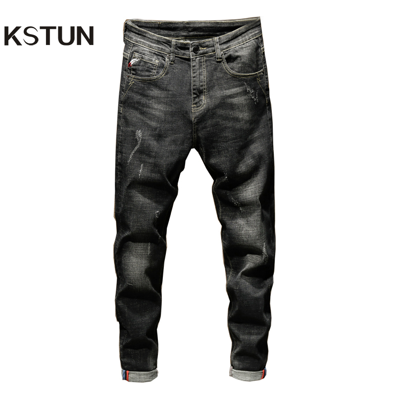 KSTUN Jeans Men Black Jeans Slim Fit Stretch 2019 Autumn Mens Jeans Brand Washed Denim Pencil Pants Men's Clothing Jeans Hombre
