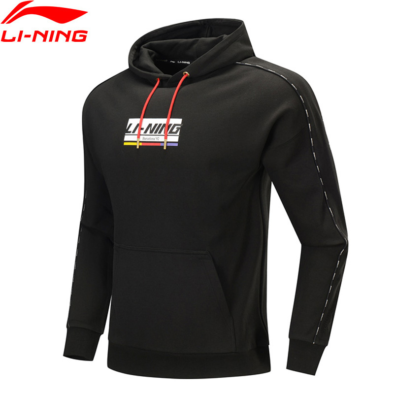 Li-Ning Men The Trend Hoodie 100% Cotton Loose Fit Sweater Hit-Color Printing leisure Comfort LiNing Sports Tops AWDP409 MWW1598