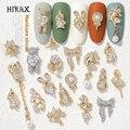 Новейшая модель; 2 шт./партия подвеска на цепочке 3D сплава в виде бабочек для дизайна ногтей циркон жемчужные металлическая маникюр ногтей DIY...