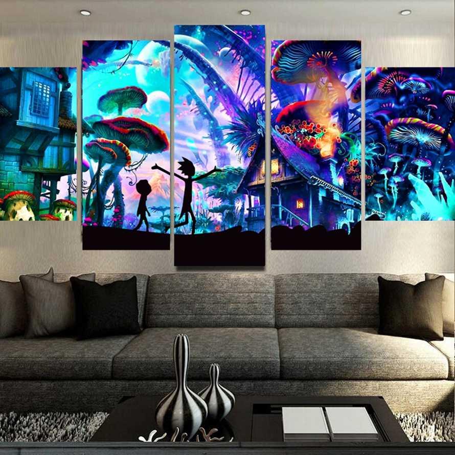 キャンバス壁アートモジュラー写真家の装飾 5 個リック · Morty 絵画リビングルーム HD プリントアニメーションポスターフレームワーク