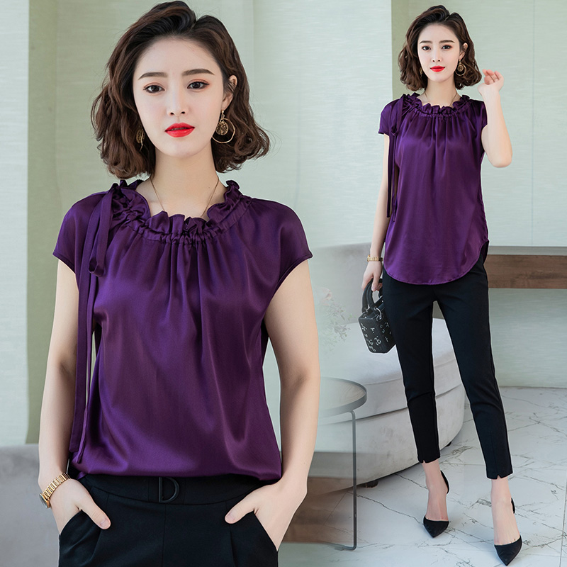 Korean silk Blouse Women Satin Shirt Top Plus Size Blusas Mujer De Moda 2020 Woman Short Sleeve Solid Ruffle Blouses Women Tops