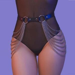 Leather Harness Chain Garter Belt Body Bdsm Bondage Goth Nick Sex Lingerie Erotic Waistband Thigh Harness Punk Leg Straps(China)