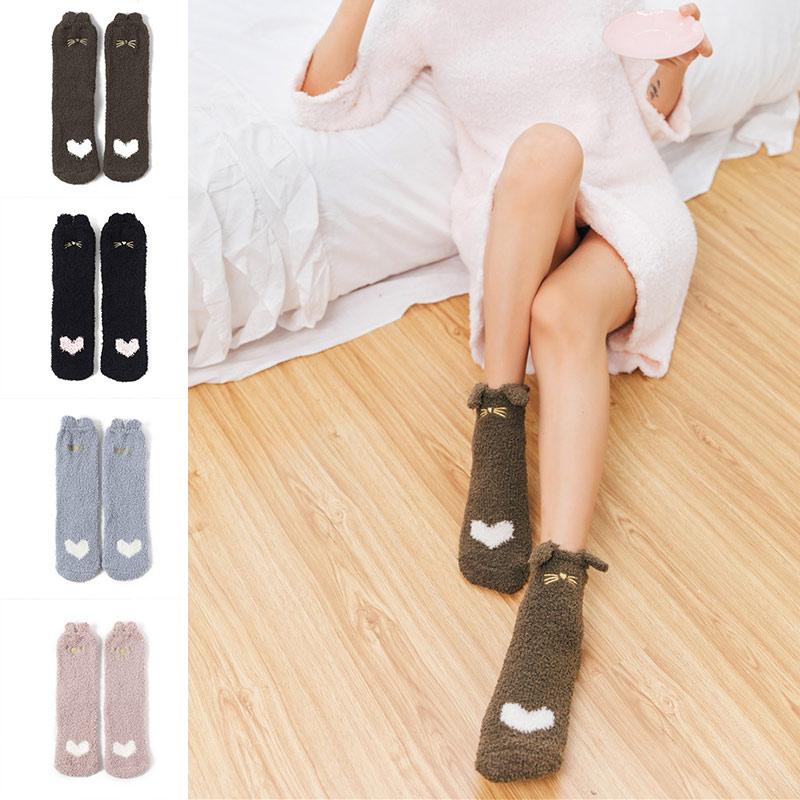 Novelty Women Girls Coral Velvet Warm Cute Cartoon Middle-Tube Socks Comfortable J9