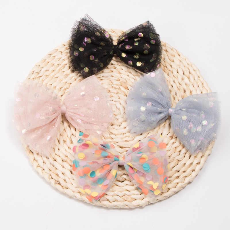 ヘアアクセサリースパンコールドット糸女の子のためのハンドメイドオーガンザヘアピンクリップ子供のブティック頭飾り