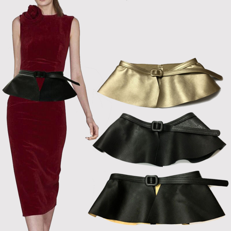 Women Cummerbunds New Causal Leather Skirt Ruffle Wide Belts Women Decorated Personality Cummerbunds Femme Clothing Accessories