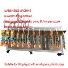 MANSHENG 8л перистальтический насос 6 сопел машина для наполнения чистого сока соевое молоко носик мешок наполнитель