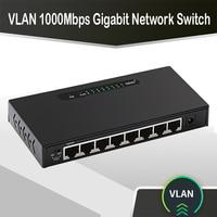 Conmutador gigabit de 8 puertos de 1000Mbps, Hub ethernet Vlan inteligente 1G, conmutador de red vlan, gigabit rj45, divisor de Internet para la Oficina y el hogar