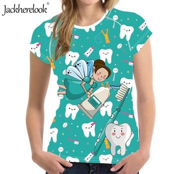 Jackherelook Brand Designer Cute Cartoon Dental/Tooth/Dentist Fairy Print Summer Short Sleeve O-neck Tops Shirts Famale Clothing 1