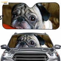 Car Windshield Sun Shade Interior Protector Lovely Pug Dog Print Auto/Vehicle Windows Sunshade Pet Dog Pattern SUV Sun Blocker
