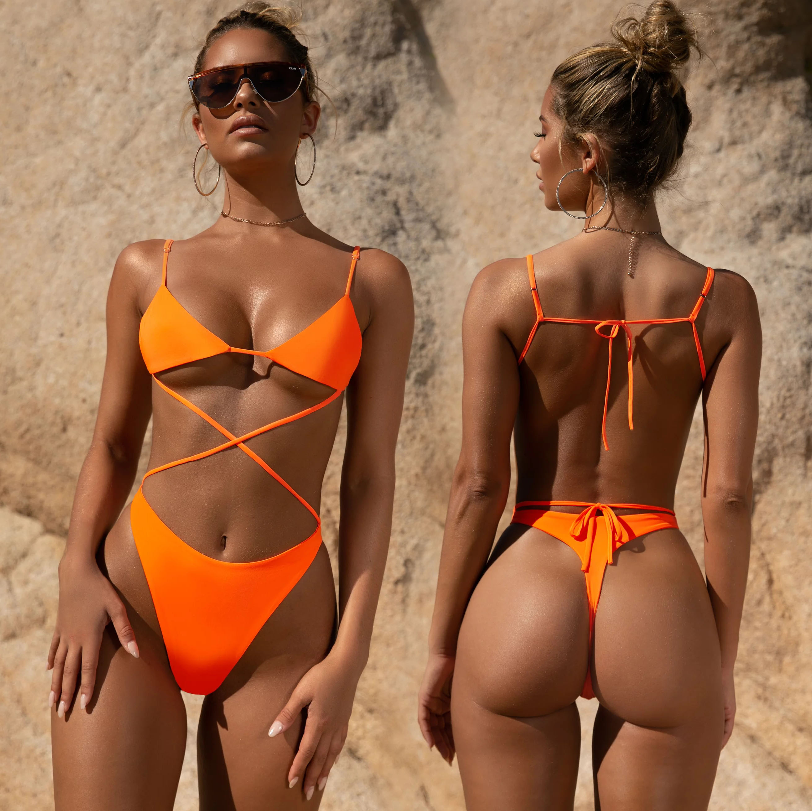 <font><b>2019</b></font> <font><b>Sexy</b></font> <font><b>Bikini</b></font> cross Bandage Fluorescent orange Swimsuit Summer Swimwear <font><b>Brazilian</b></font> Beachwear Bathing Suit Biquini FF107 image