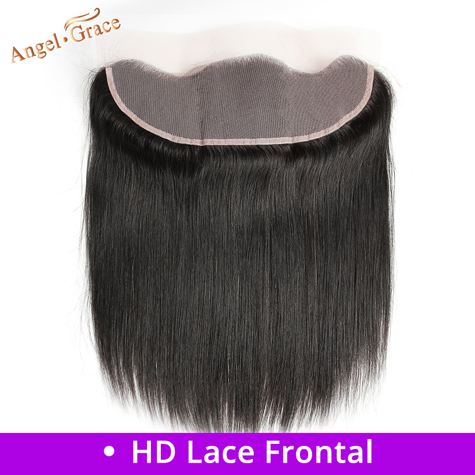 ANGEL GRACE HAIR Brazilian Straight Hair Free/Middle Part HD Lace Frontal 13x4 Ear To Ear Lace Frontal Remy Human Hair Closure
