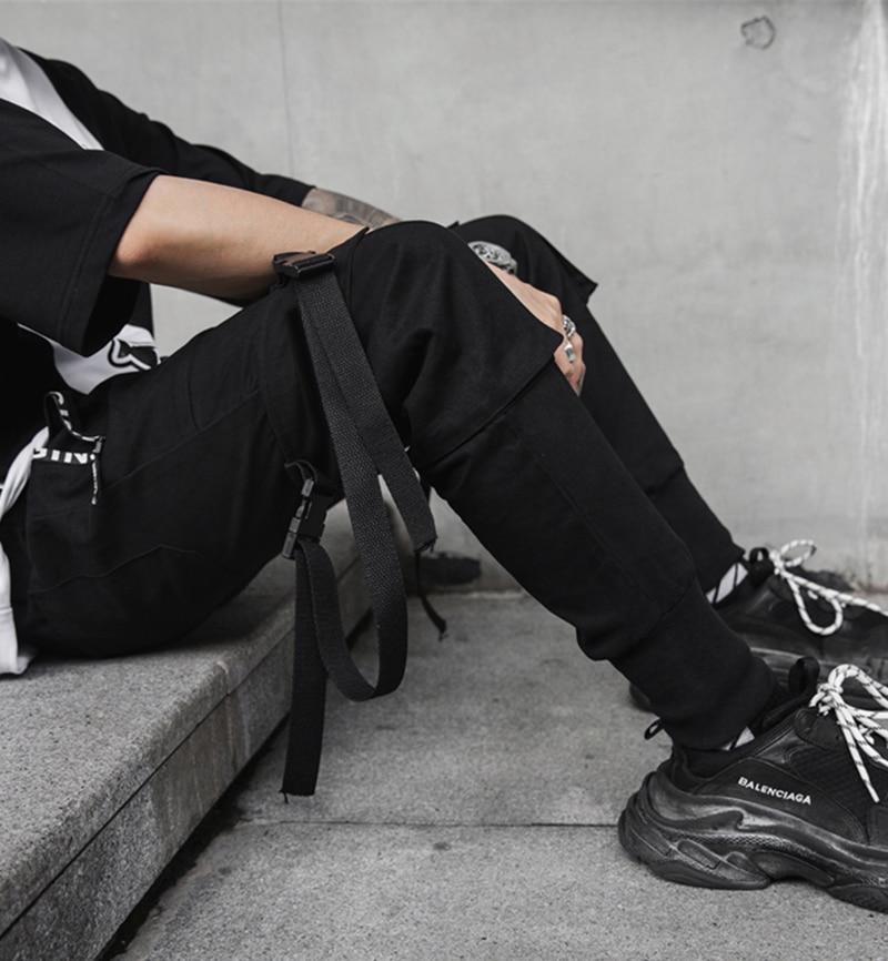 New Hip Hop Men Joggers 2019 Fashion Men Black Pants Multi-pocket Ribbons Man Sweatpants Streetwear Casual Mens Pants