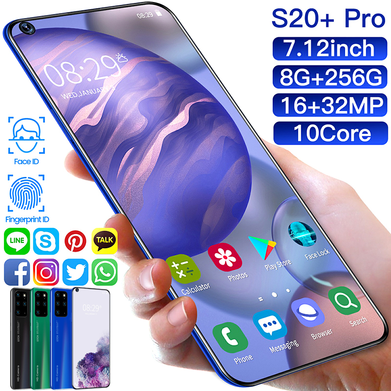 S20+ PRO 7.2 Inch System HD 2320x1080 8g + 256g Dual Card Standby Dual Fingerprint Face Unlock(China)