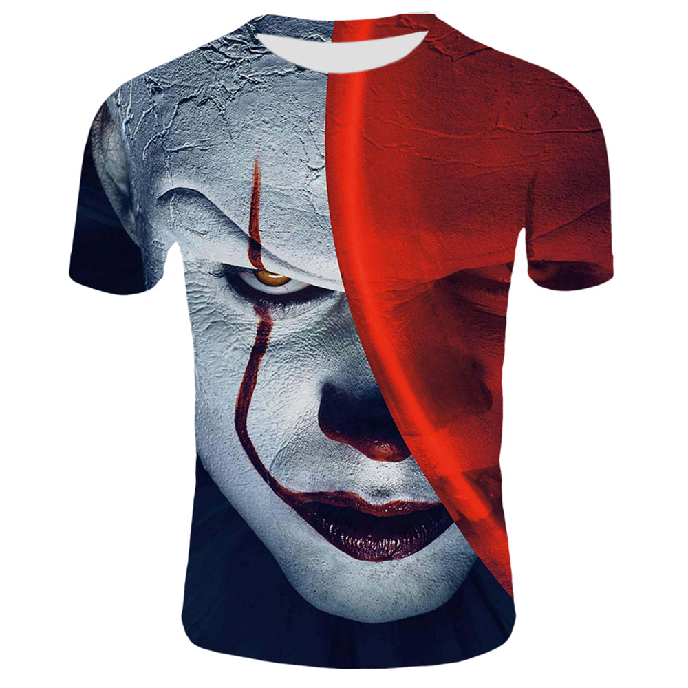 MenTee Shirt Horror Movie Red Nose Clown Joker 3D Print Tshirt Men/Women Hip Hop Streetwear 80s/90s Boys Cool Clothes Man
