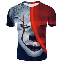 Mentee Shirt Horror Movie Rode Neus Clown Joker 3D Print Tshirt Mannen/Vrouwen Hip Hop Streetwear 80 S/90 S Jongens Cool Kleding Man(China)