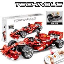 SEMBO تكنيك جهاز التحكم عن بعد سيارة لعبة اللبنات أطقم منمذجة الطوب F1 صيغة سباق السيارات الاطفال لعب للأطفال الأولاد هدية