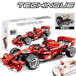 Image 1 - Sembo técnica rc brinquedo do carro de controle remoto blocos de construção modelo kit tijolos f1 fórmula corrida carro crianças brinquedos para crianças meninos presente