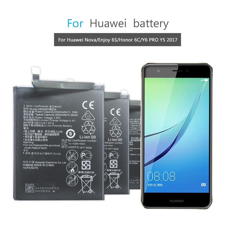 Replacement Battery For Huawei Nova / Enjoy 6S / Honor 6C / Honor 6A / Honor 8A / Y5 2017 / P9 Lite Mini HB405979ECW 3020mAh