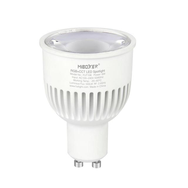 Miboxer FUT106 6W GU10 RGB+CCT LED Spotlight AC100~240V WIFI control spotlight For Houses Restaurants Bars