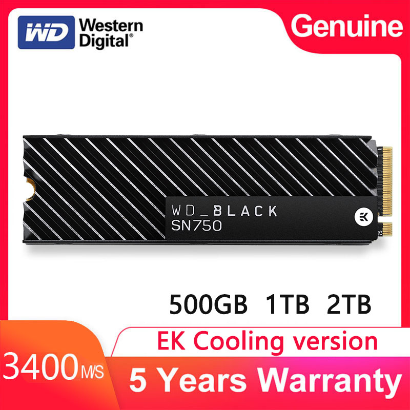 Western digital unidade de estado sólido interno m2 preto sn750 ek versão refrigerando ssd 1tb 500gb m.2 2280 ssd nvme gen3 pcle 3d nand