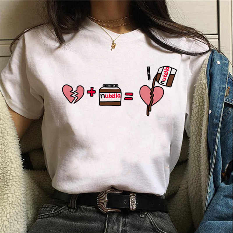 Nutella Kawaii Impression T-shirt Femmes 90s Harajuku Ullzang Mode T-shirt Graphique Mignon Dessin Animé T-shirt Style Coréen Top T-Shirts Femme