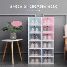 1 шт Прозрачный Прочный пластиковый ящик для обуви Штабелируемый
