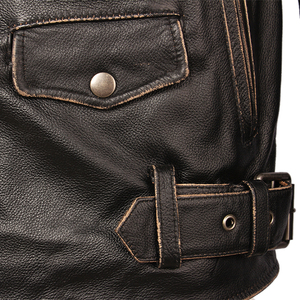 Image 4 - בציר אופנוע מעיל גברים מעילי עור עבה 100% עור פרה אמיתי עור מעיל חורף אופנוען Moto בגדי M456
