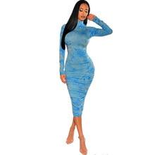 2020 jesień Ruched Tie Dye drukuj długie kobiety sukienka Sexy O Neck z długim rękawem Neon Tube Bodycon Streetwear Club Party Dress stroje