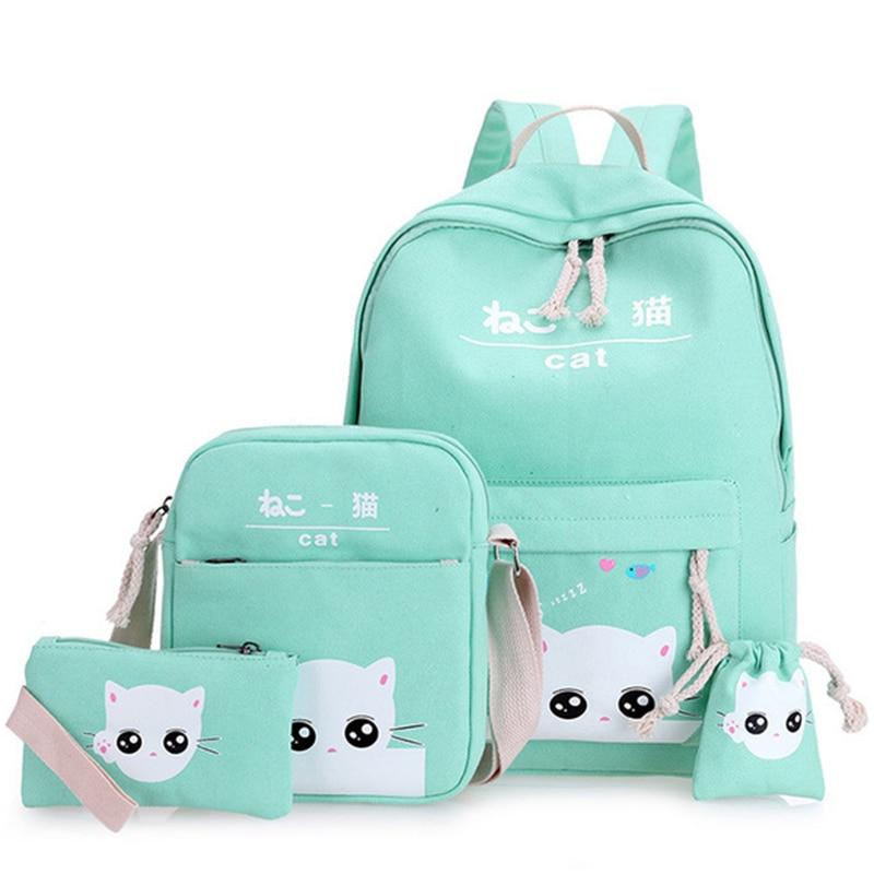 Cute Cat Girl School Bags Canvas School Backpack For Teenage Girls Kids Backpacks Schoolbag Children Bags WBS468