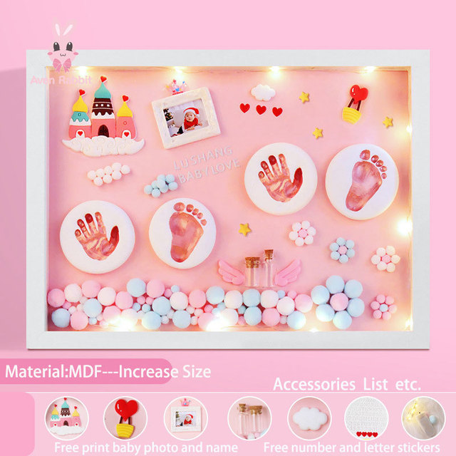 Baby Accessories Newborn Gift Set Baby Items Gift Clay Hand Foot Diy Baby Photo Frame Handprint Footprints Colored Clay Souvenir