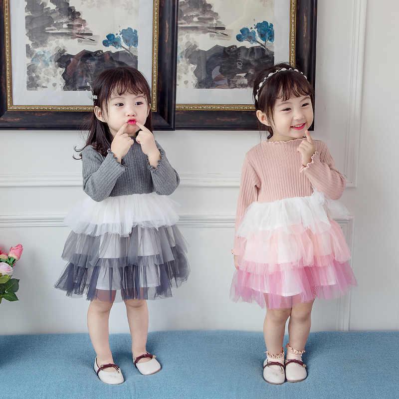 2019 mùa xuân và mùa thu bé gái thêu lưới trẻ em nơ tay dài bé gái đính nút Hàn Quốc quần áo trẻ em