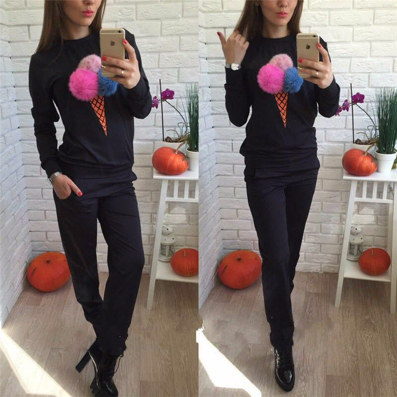 Ice Cream 2020 New Design Fashion Hot Sale Suit Set Women Tracksuit Two-piece Style Outfit Sweatshirt Sport Wear