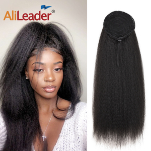 AliLeader Long Afro Puff Ponytail Hair Kinky Natural Hair Synthetic Kinky Straight Drawstring Ponytails With Clip Elastic Band