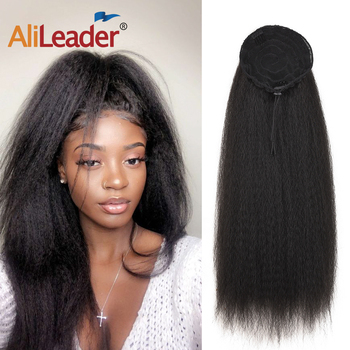 AliLeader Long Afro Puff Ponytail Hair Kinky Natural Synthetic Straight Drawstring Ponytails With Clip Elastic Band