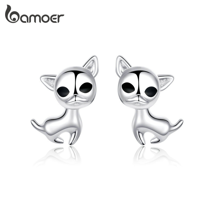 bamoer Authentic 925 Sterling Silver Stud Earrings Dog Chihuahua Pet Earrings Animal for Women Fine Jewelry Gifts GXE758