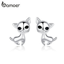 bamoer Authentic 925 Sterling Silver Stud Earrings Dog Chihu