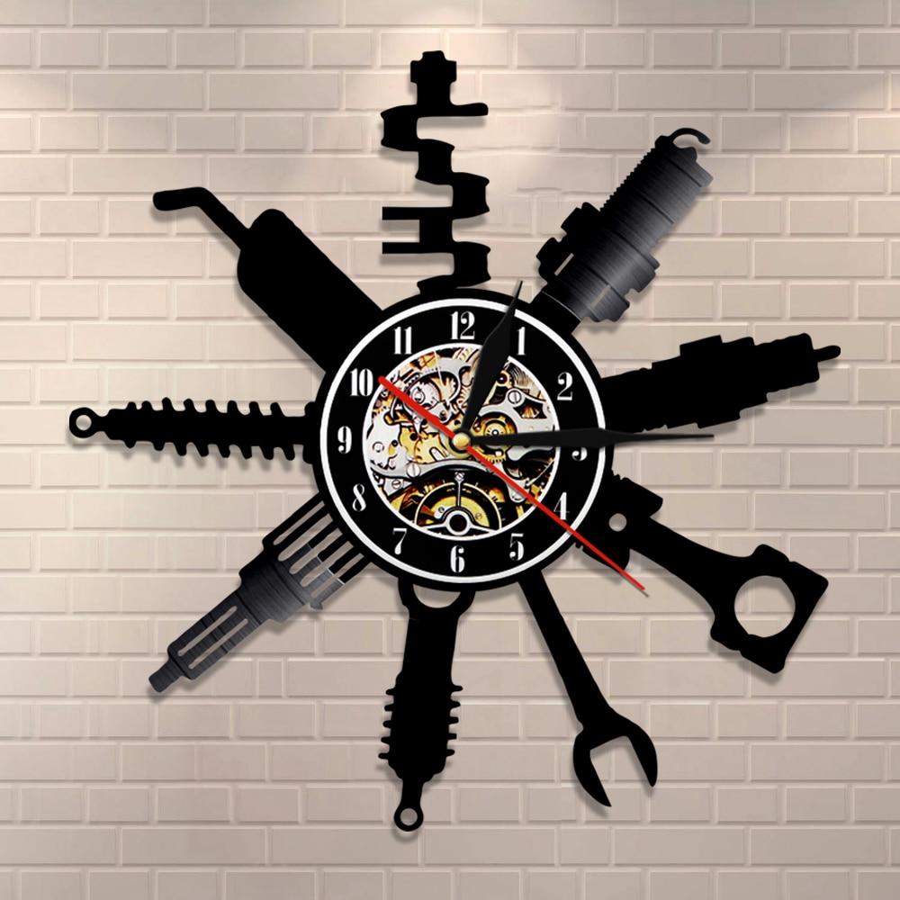 Auto Repair Shop Wall Sign Decorative Modern Wall Clock Car Mechanic Service Workshop Vinyl Record Clock  Garage Repairman Gift