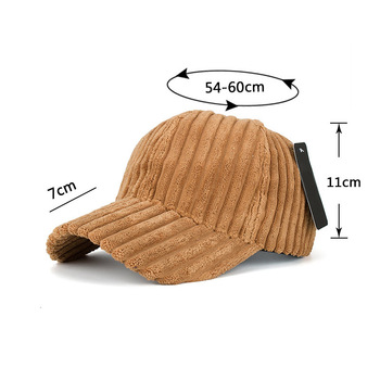 Fashion Winter Solid Color Thick Corduroy Baseball Cap Female Winter Plush Thickening Student Warm Cap Couple Baseball Caps 4
