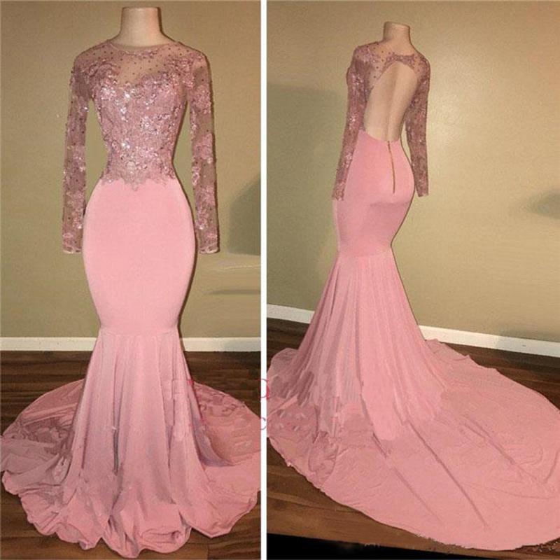 O Neck Long Sleeves Prom Dresses 2019 Sexy Pink Open Back Evening Party Gowns Arabic Party Gowns Special Occasion Gowns