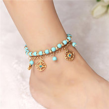 2 Pcs Set Beads Flower Pendant Beach Anklets For Women Gold Color Sexy Boho Anklets Foot Chain Charm Jewelry Gift Drop Shipping(China)