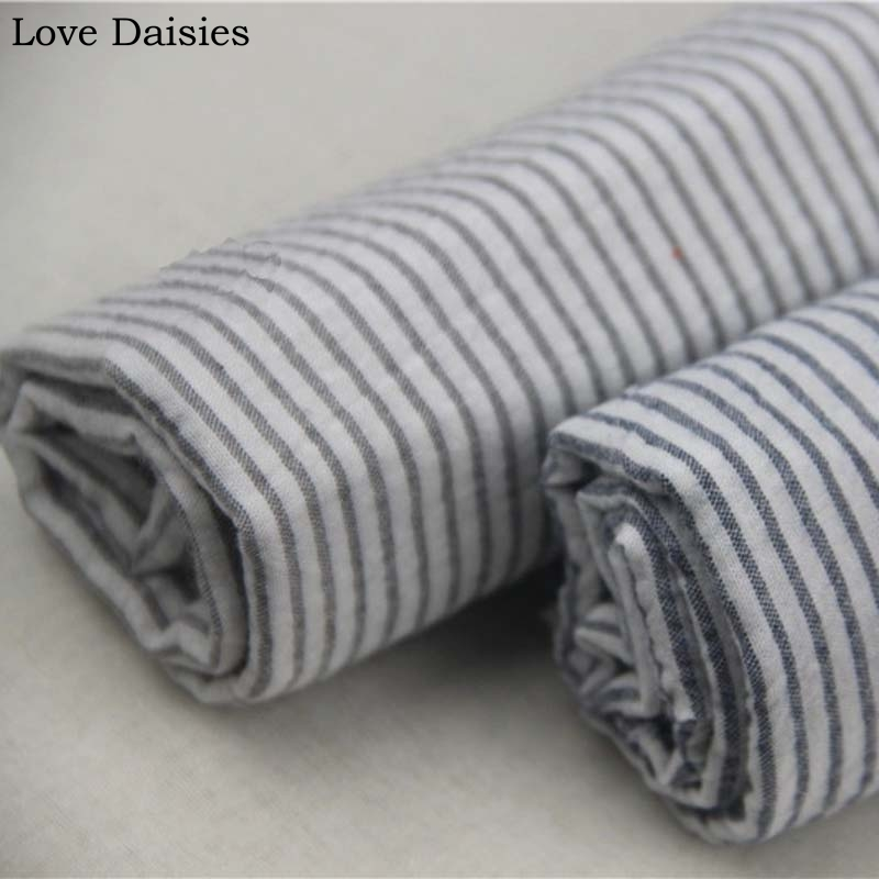 100 Cotton Yarn Dyed Seersucker Dark Blue Gray Stripe Fabric For
