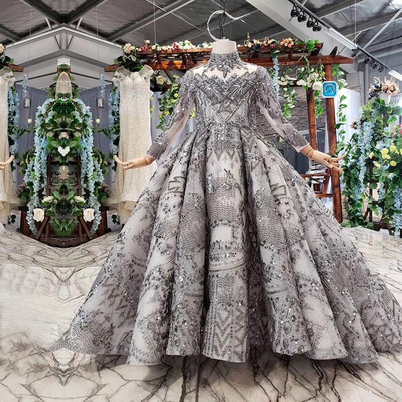 Luxury Arabic Kids Evening Ball Gown Long Sleeve Kaftan Beaded Wedding Party Little Bride Flower Girl Pageant Dress With Train