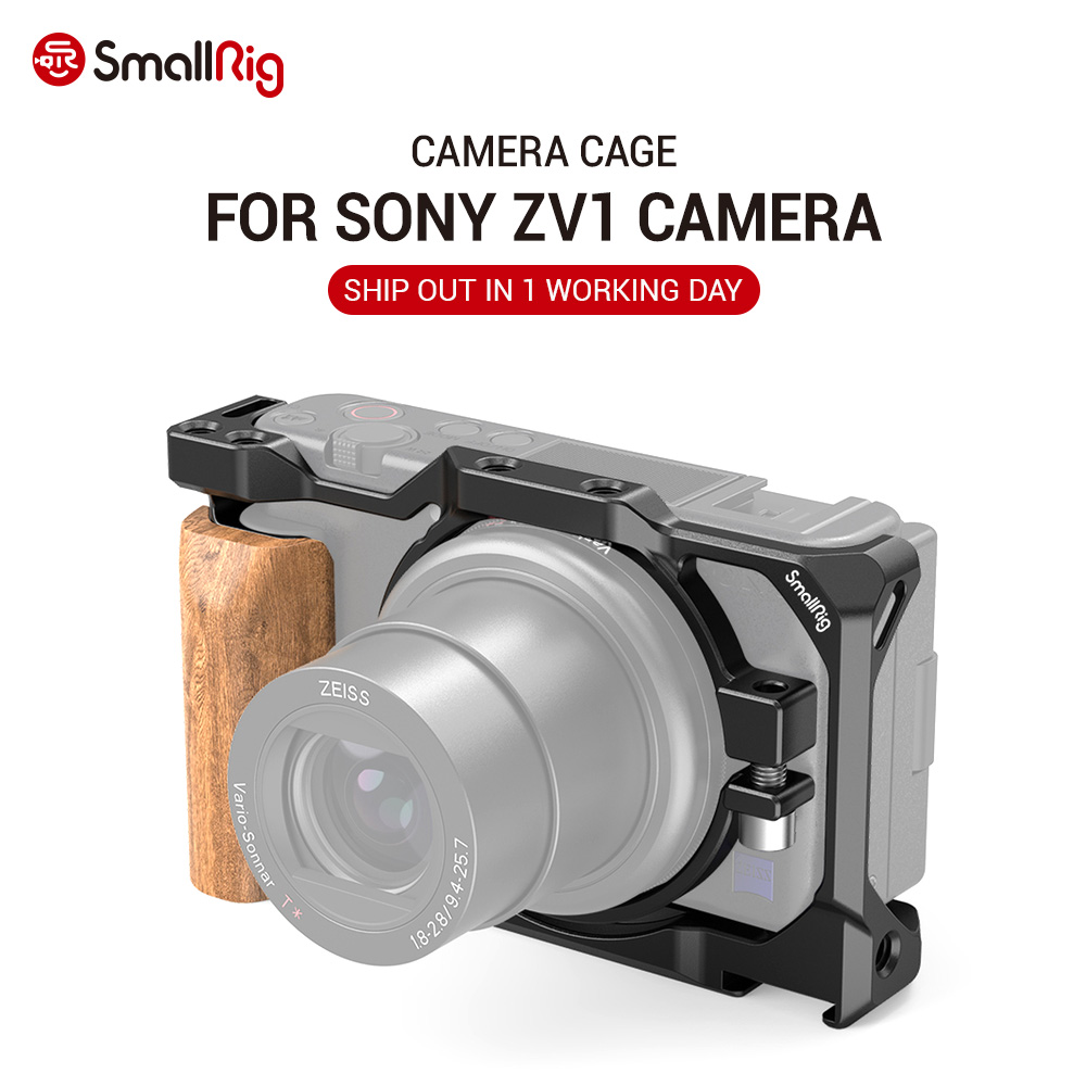 SmallRig ZV1 Camera Vlog Cage with Wooden Handgrip for Sony ZV1 Camera Vlogging Cage Light Weight 2937