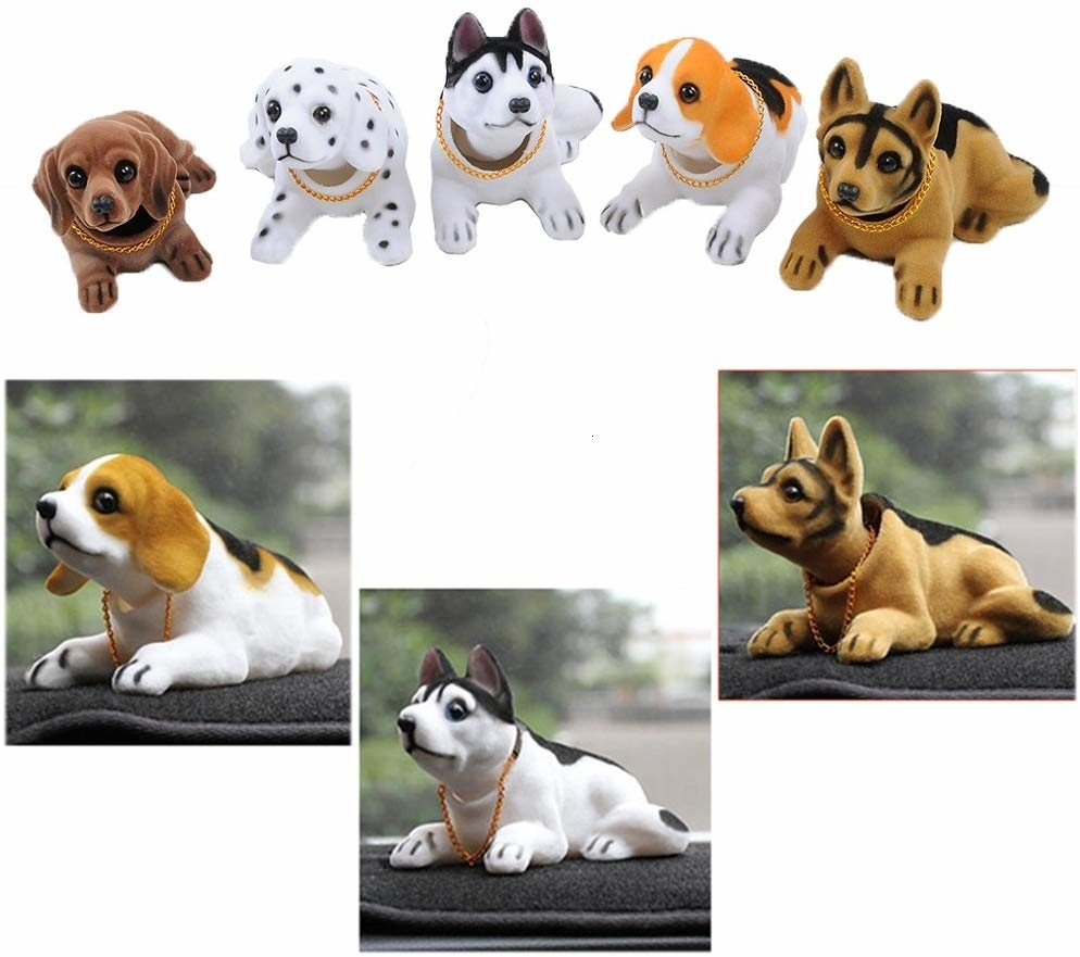 Akita Dog VOSAREA Nodding Dog Car Interior Ornaments Accessories Standing Posture Shakes Head Dog Decorations