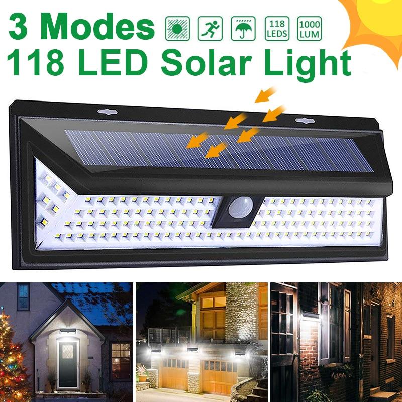 Goodland 118 LED lampa słoneczna zewnętrzna lampa solarna zasilana światłem słonecznym czujnik ruchu PIR wodoodporna lampa uliczna do dekoracji ogrodu