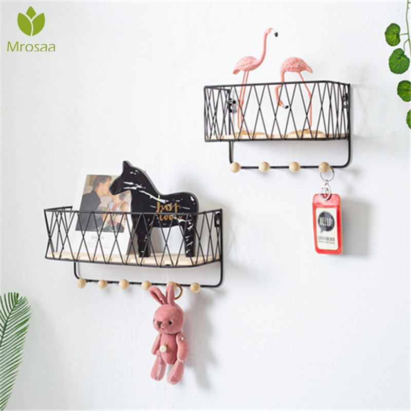 Hot Sale Creative Simple Nordic Wrought Iron Grid Wall Shelf Ornament Home Wall Hook Wall Mounted Storage Rack Decor Housekeeper
