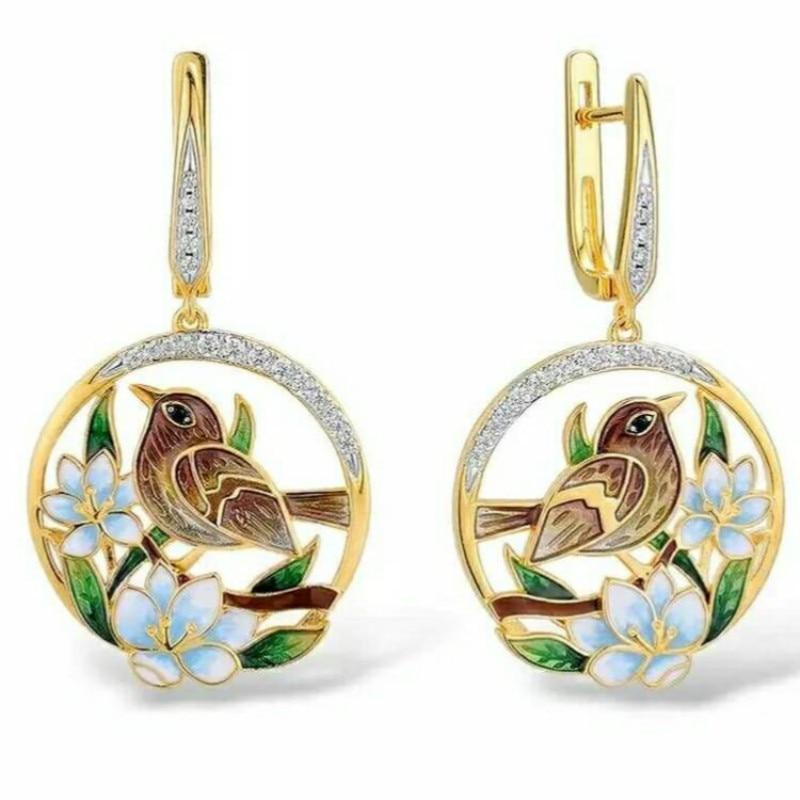 2020 Brand New Women Jewelry Elegant Cute Flower Bird Retro Drop Earrings Colorful Enamel AAA Zircon Inlaid Wedding Earrings