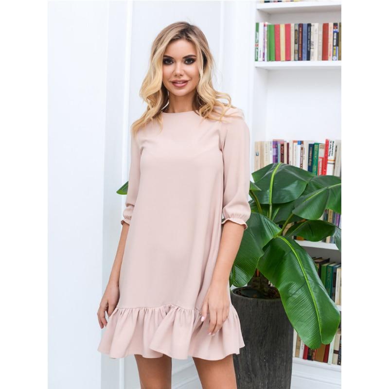 Women Sweet Lantern Sleeve Ruffles Mini Dress Ladies O Neck Solid Loose Dress 2019 Autumn Casual Women Elegant Party Dresses