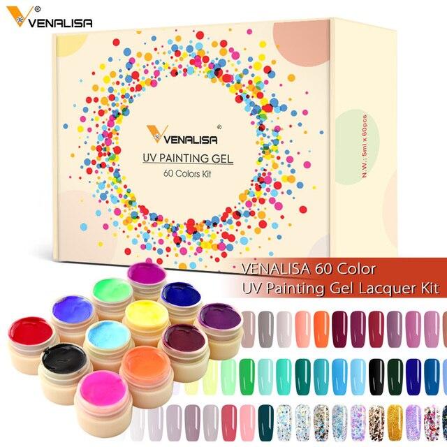 60pcs * 5ml 네일 젤 컬러 바니시 잉크 CANNI 핫 세일 네일 아트 살롱 매니큐어 전체 세트 색상 LED 젤 래커 페인트 UV 젤