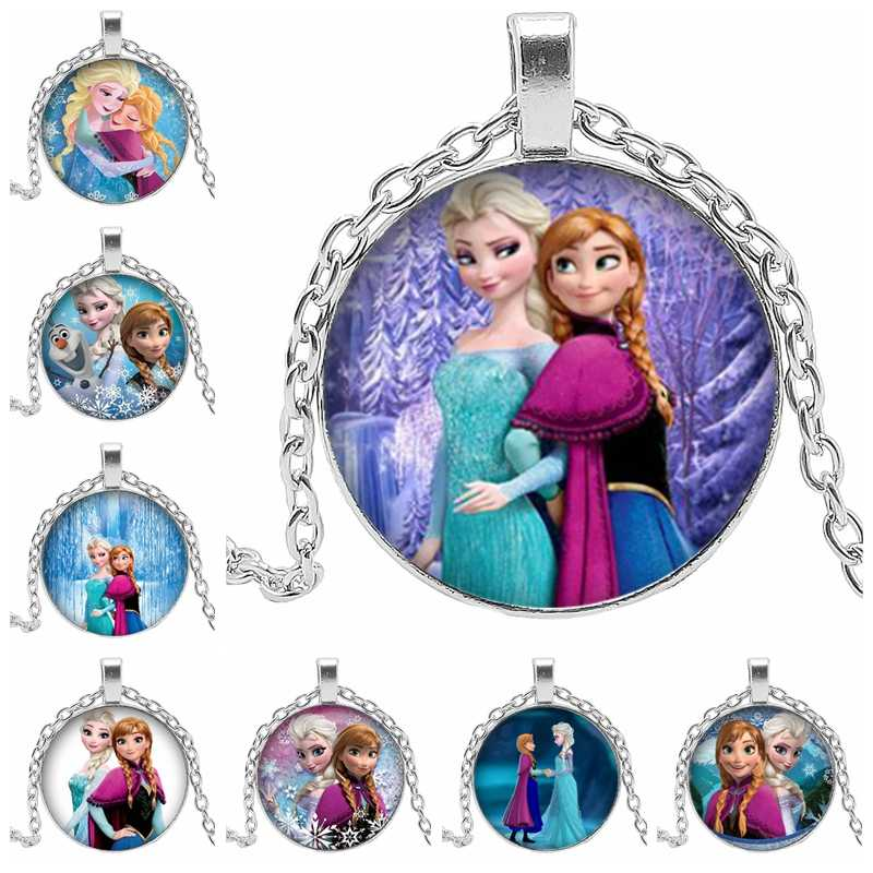 2019 New Fashion Women's Necklace Jewelry Glass Snow Princess Anna Snow Queen Pendant Necklace Girl Child Gift